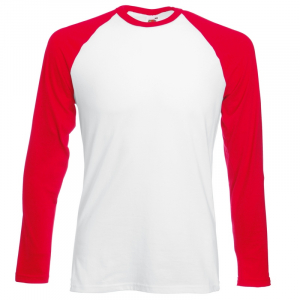 SS32 Long Sleeve Baseball T-Shirt White/Red XL