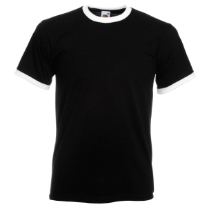 SS34 Contrast Ringer T Shirt Black/White Small