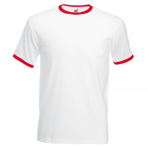 SS34 Contrast Ringer T Shirt White/Red Large